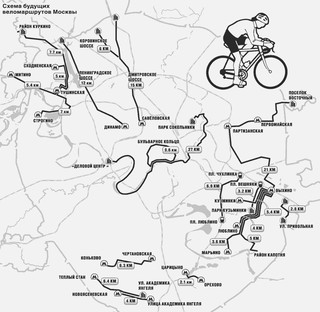 Map of Cycle routes, cycle paths, cycle lanes of Moscow