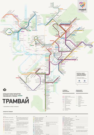 Map of Moscow tram Mosgortrans network